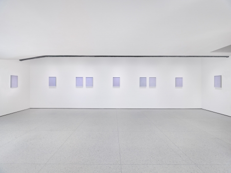 Crepuscule, 2015. Set of nine framed works, eaching containing two digital C-prints. In Photo-Poetics: An Anthology. Installation view, 2015. Guggenheim Museum, New York.