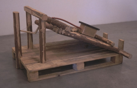 Little Vermin Trap, 1997. Wood, palette, 27-1/2 x 44-1/2 x 50 inches. MP 8