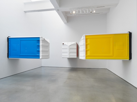 Red, Yellow, Blue, 2018. HDPE, Rivets, Toilet paper, Each 47 x 90 x 44 inches (119.4 x 228.6 x 111.8 cm).