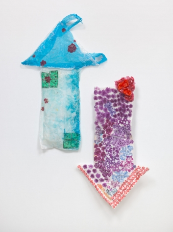 Allyson Vieira, Get Shot Got Shot Give Shot, 2018. Styrofoam, plastic bags, resin, Overall 63 1/2 x 47 1/2 x 7 1/4 inches (161.3 x 120.7 x 18.4 cm).