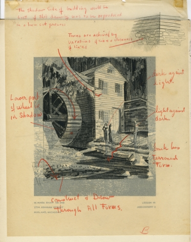 Mark Shaw drawing of a mill with corrections
