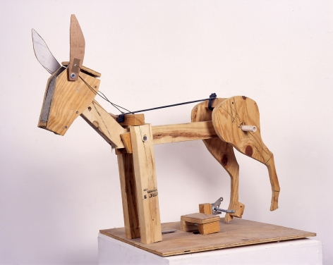 Eric Wesley wooden sculpture of donkey