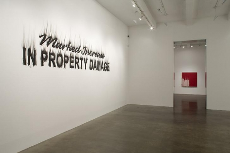"""""""Night of the Fires,"""" installation view, 2008. Metro Pictures, New York."""