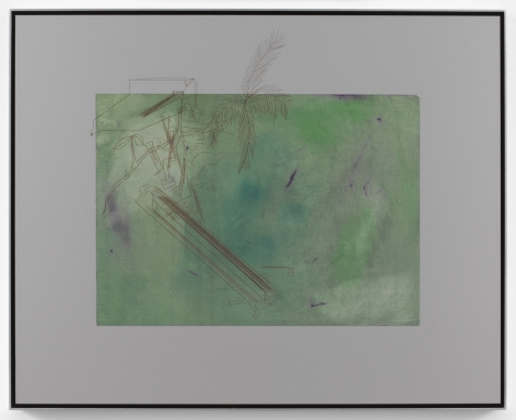 Alterity Line, 2002-2017. Oil paint on canvas mounted to dibond with laser etching, Dibond 19 9/16 x 24 7/16 inches (49.7 x 62.1 cm), Frame 20 1/4 x 25 inches (51.4 x 63.5 cm).