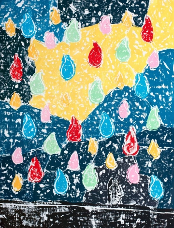 Olaf Breuning - Color Rain work on canvas