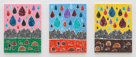 Olaf Breuning triptych 'Mountains'