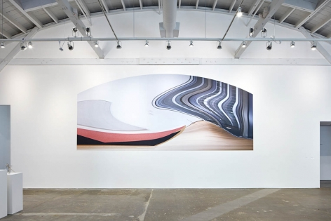 Formica (adjusted for the wall, Metro Pictures, FIAC, distorted for the times, slippery slope 1), 2011/2012/2015/2017 adhesive image installed at CCA Wattis Institute