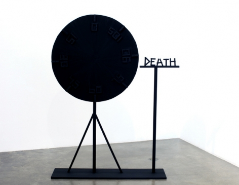 The Wheel of Death, 2009. Wood, hardware, hot glue, acrylic paint, 36 inches (diameter of circle) (91.4 cm); 67 x 48 x 12 inches (overall) (170.2 x 121.9 x 30.5 cm). MP 50