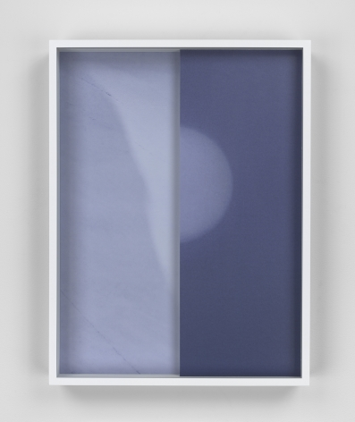 Marble/Moon, 2015. 2 Digital C-prints, one print mounted on aluminum, one on glass, 16 1/2 x 12 1/2 inches (41.9 x 31.8 cm).