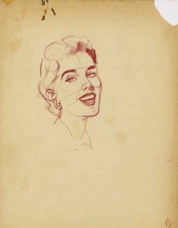 Corrected version of the Mark Shaw drawing of woman smiling
