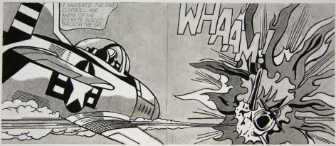 Untitled (After Lichtenstein, WHAAM! - 1963), 2008. Graphite on paper. 3-1/16 x 7-5/16 inches (7.5 x 17 cm).