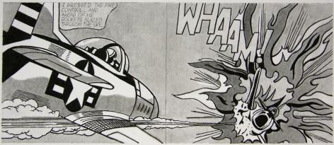 Untitled (After Lichtenstein, WHAAM! - 1963), 2008. Graphite on paper. 3-1/16 x 7-5/16 inches (7.5 x 17 cm).