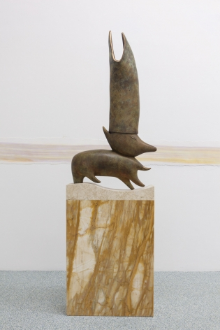 The Man Who Understands Animal Speech Will Be Pope, 2016. Bronze, Marmo Giallo Siena marble, and Egyptian Yellow marble, 87.01 x 26.38 x 9.06 inches (221 x 67 x 23 cm)
