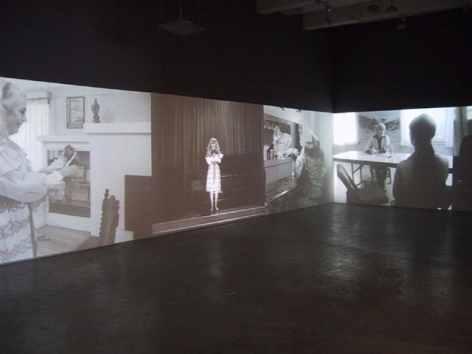 """Big Hunt"", 2002. Five channel installation. Installation view, Metro Pictures, New York."