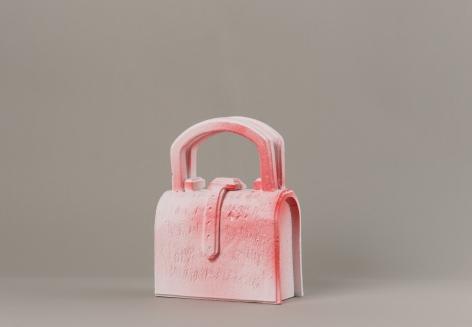 Handbag, 2013/14., Polystyrene, acrylic paint, 13.19 x 9.84 x 6.1 inches (33.5 x 25 x 15.5 cm), Base 75 x 55 x 40 cm.