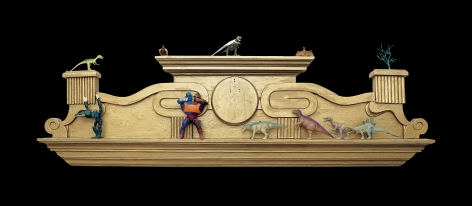 Andy Hope 1930 sculpture of wooden frieze with figurines
