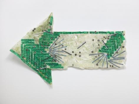 Allyson Vieira, Domestic Waste, 2018. Styrofoam, plastic bags, resin, 41 1/2 x 66 1/4 x 5 3/4 inches (105.4 x 168.3 x 14.6 cm).