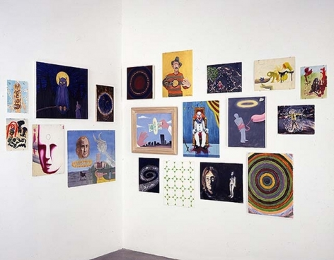 Jim Shaw, Paintings Found in an O-ist Thrift Store - Miscellaneous, 2002. 16 mixed media paintings, dimensions variable. MP 148-D