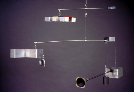 Repressed Spatial Relationships Rendered as Fluid, No. 2: School System Work Net (With Flashback), 2002. Aluminum , steel, radio, speaker, plexi-glass. MP 02-14
