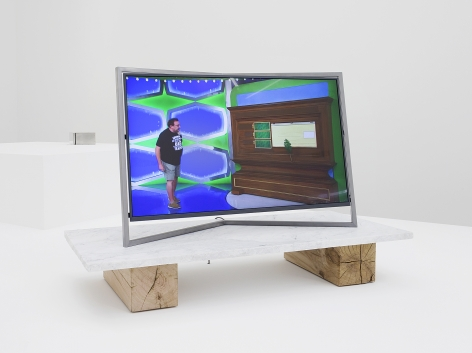 Paul Pfeiffer, Desiderata 2017, 2018. Digital video loop, fabricated steel monitor with embedded media player, marble, wood, 35 1/16 x 22 7/16 x 52 3/8 inches (89.1 x 57 x 133 cm), 4 minutes, 18 seconds.