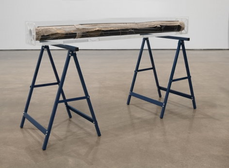 Alterity Line, 2002-2017. Oil paint on cotton canvas, laser etching on Plexiglas, and 2 Brennenstuhl sawhorses in blue, 35 1/8 x 62 x 6 3/4 inches (89.2 x 157.5 x 17.1cm).