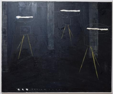 David Maljkovic painting of three paintings with speech bubbles