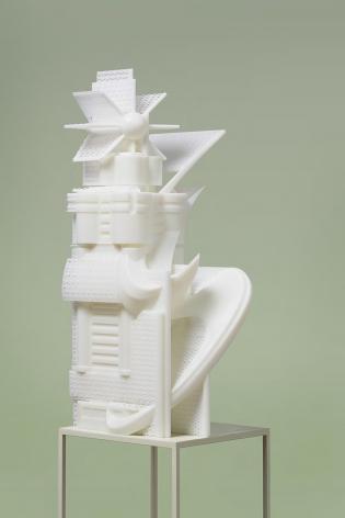 Dalian Telecom Hub Building #4, 2017. 3D-print photopolymer resin, 23.5 x 22 x 53 cm.