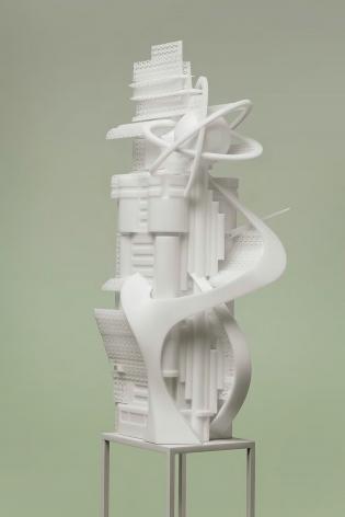 Dalian Telecom Hub Building #3, 2017. 3D-print photopolymer resin, 23.5 x 22 x 53 cm.