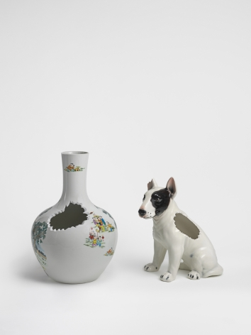China, 2016. Ceramic vase and ceramic dog,