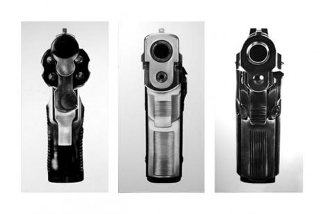Robert Longo, Untitled (Bodyhammers: 9mm, Revolver .38, Beretta), 2008. Charcoal on mounted paper, 3 panels, each 96 x 48 inches (each gun) (243.8 x 121.9 cm). MP D-875