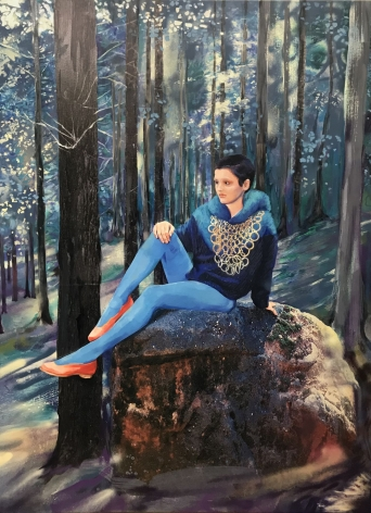 Paulina Olowska painting 'Blue Forest'