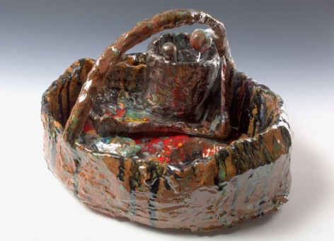 Bride's Basket with Mortar & Pestle, 2007. Ceramic, formica pedestal. Sculpture: 13 x 20 inches (33 x 50.8 cm); pedestal: 30 x 26 x 26 inches (76.2 x 66 x 66 cm). MP 39