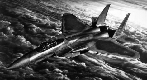 Untitled (American Jet), 2018. Charcoal on mounted paper, 65 x 120 inches (165.1 x 304.8 cm).