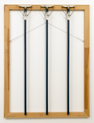 Three Blue Mops, 1986. Wooden stretcher bars, mop handles, wire,