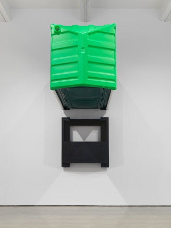 Two Green Portable Toilets, 2018. HDPE, Rivets, Toilet paper, Portable toilet 47 x 90 x 44 inches