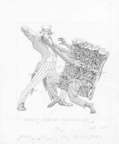 Study for Uncle Sam fighting cake slice, 2017