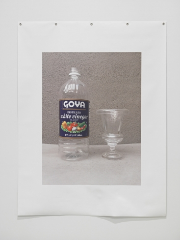 Untitled (Vinegar), 2018. Photograph on canvas, metal grommets, 64 x 49 inches (162.6 x 124.5 cm).