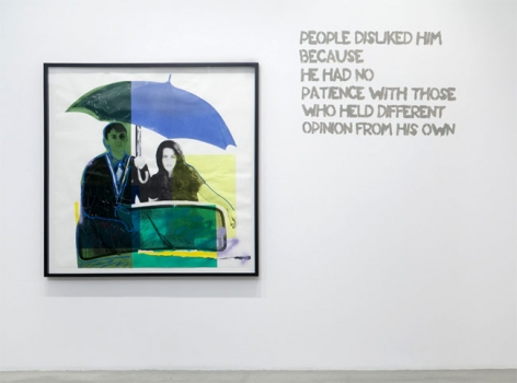 Paulina Olowska, People disliked him because he had no patience with those who held different opinion from his own, 2009. Silkscreen on paper, glue, colored gels, tape, foil, oil marker and crayon, 56-3/4 x 55-1/4 inches (140.3 x 139.1 cm); framed:61 x 60-1/2 inches (154.9 x 151.1 cm). MP D-45