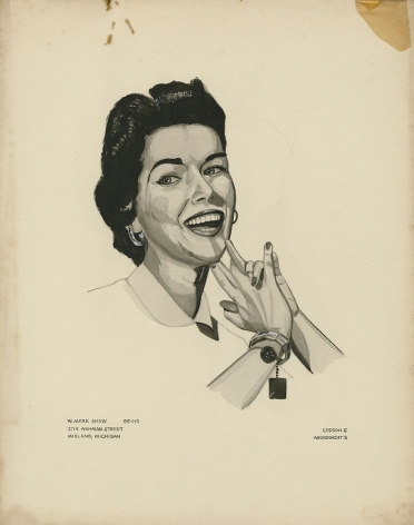 Mark Shaw drawing of woman smiling