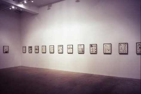 The Inky Depths (installation view), 2005. 26 ink and pencil drawings on paper, 2 airbrushed sheets of fabric, 2 portable stereos, 6 lights, 2 disco balls, dimensions variable. MP 157