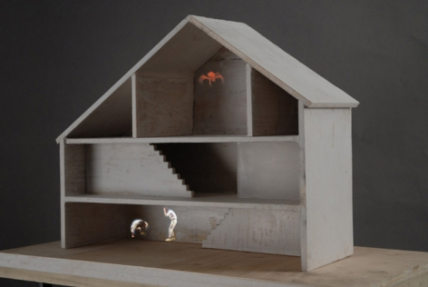 Flood or Fear with Bugs, 2009. Wood and resin and video projection (performance by Erik Aalto), 68.75 x 20-3/4 x 11.5 inches (172.1 x 48.9 x 26.7 cm). MP 584