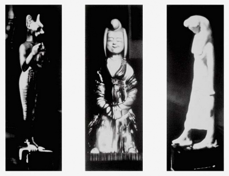 Untitled (triptych 3 figurines from 3 different locations in apartment 1938), 2000. Graphite and charcoal on mounted paper, 87 x 30 inches each (220.9 x 76.2 cm). MP D-389