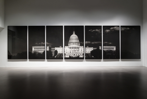 Untitled (Capitol), 2012-2013. Charcoal on mounted paper, 7 panels, 121 1/8 x 493 3/8 inches.