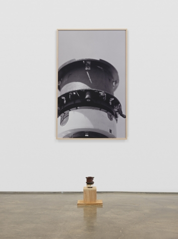 Untitled (Syntronic Instrument), 1987. Found electrical instrument, wood, dye sublimation print,