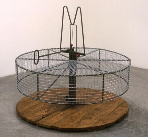 Bird Trap, 1999. Metal, bait, 23-1/2 x 9 x 9 inches. MP 12