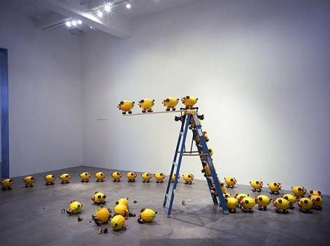 Olaf Breuning, A Group of Unstable Lemon Pigs, 2005. 72 pigs, styrofoam. MP 24