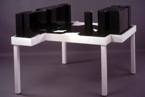 Concretized Negative Space, 2002. Wood, colored polyester resin, 45 x 63 x 55 1/2 inches. MP 02-22