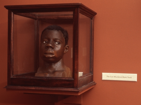 Fred Wilson installation with wax sculpture of a youth's head in vitrine with wall label