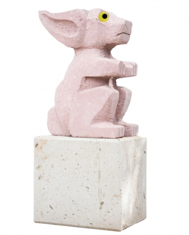 Olaf Breuning - Sad and worried animals / Rabbit sculpture on base