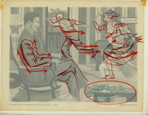 Mark Shaw drawing of a domestic scene with corrections
